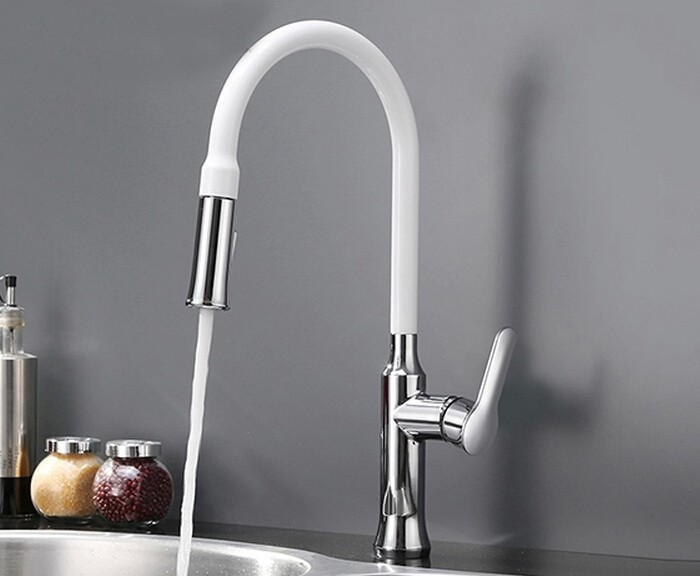 цены Free shipping Pull out Kitchen faucet Sink mixer Faucet Deck Mount Pull Out Dual Sprayer Nozzle Hot Cold Mixer Water Taps KF891