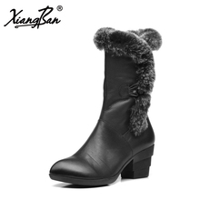 Xiangban Winter High Heels Snow Boots Genuine Leather Mid Calf Plush Warm Cotton Women Boots Thick Heel