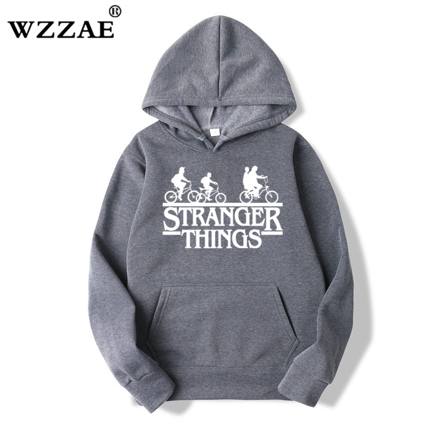 2019 Trendy Faces Stranger Things Hooded Mens Hoodies and Sweatshirts Oversized for Autumn with Hip Hop Winter Hoodies Men Brand 4