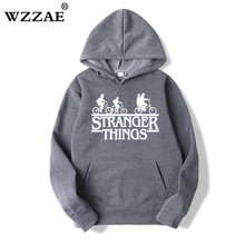 2019 Trendy Faces Stranger Things Hooded Mens Hoodies and Sweatshirts Oversized for Autumn with Hip Hop Winter Hoodies Men Brand