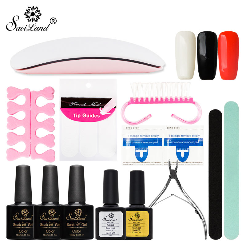 Saviland Top and Base Coat Gel Varnish Manicure Tools Set Kit Any 3 Color Gel Nail Polish Nail Art Set 6W Lamp Other Tools Set