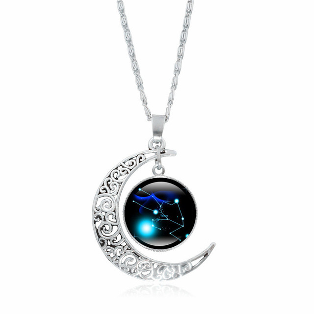 XUSHUI XJ 12 Constellation Glass Cabochon Pendant Necklace Silver Crescent Moon Jewelry Chain Necklace Women girl Family gifts 5
