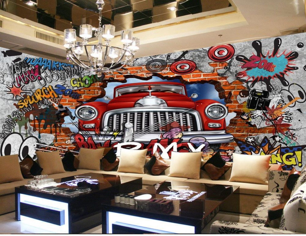 mural painting photos custom 3d photo wallpaper Brick wall graffiti car Home Decoration wallpaper for walls decor  free shipping hepburn classic black and white photos wallpaper old photos tv background wall mural wallpaper