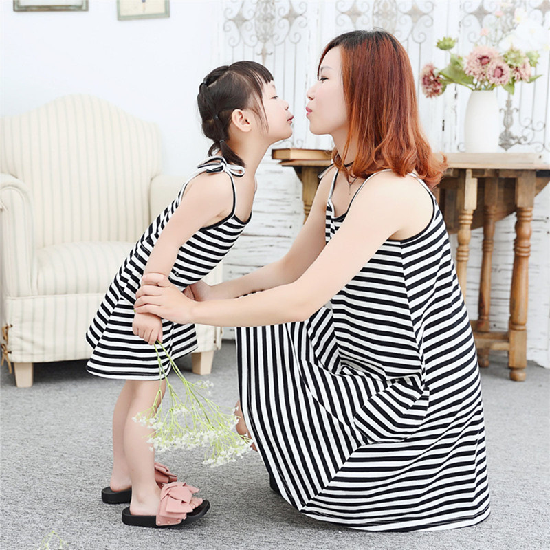 1 PCS Mother Daughter Dresses Black And White Striped Dress Summer Style Family Matching Outfitd Ankle-Length Mother&Kids Cloth