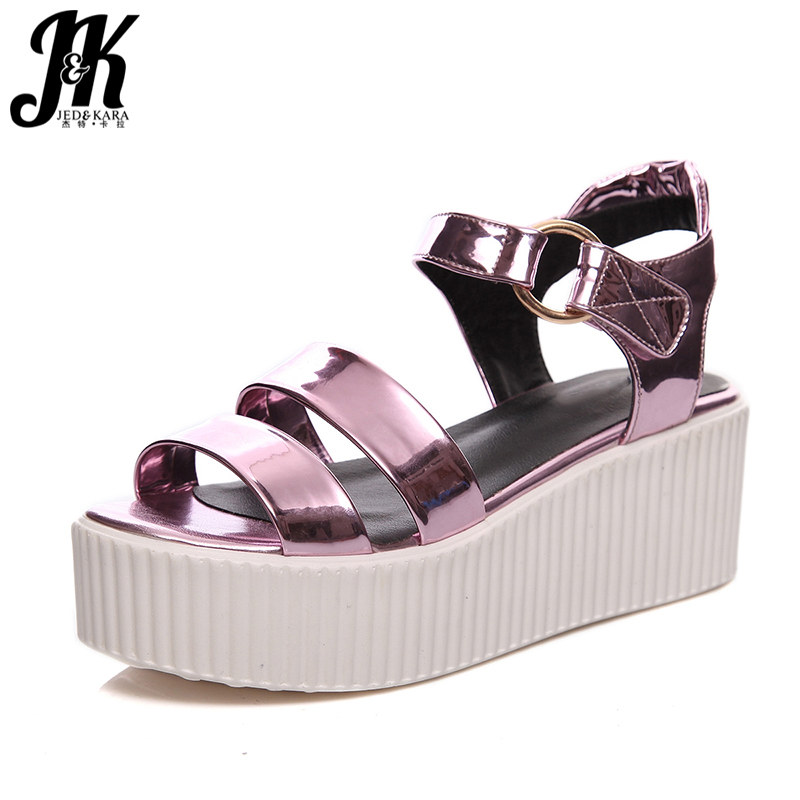 J&K 2017 New Classic Platform Sandals Gladiator Style Open toe Summer Shoes Woman Ankle Strap Wedges Thick Sole Women Sandals phyanic 2017 gladiator sandals gold silver shoes woman summer platform wedges glitters creepers casual women shoes phy3323