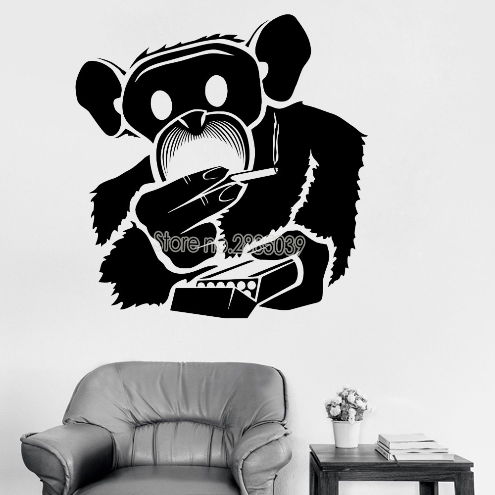 Funny Monkey Smoking Wall Stickers For Living Room Mural