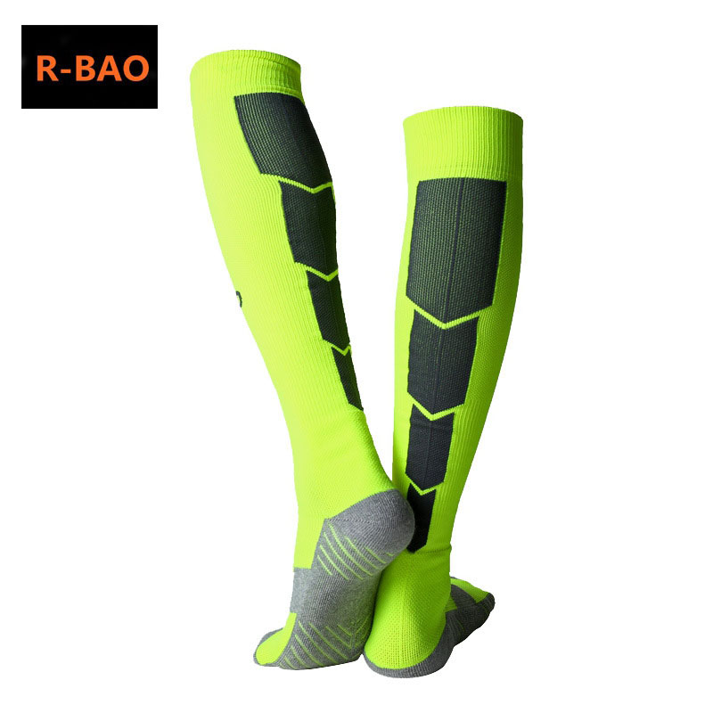 R-BAO 1 Pair Cotton Long Soccer Socks Non-slip Sport Football Ankle Leg Shin Guard Compression Protector For Men 39-44