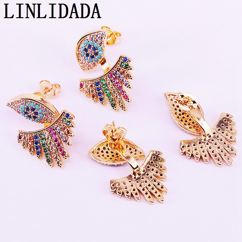 4Pairs New Trendy Gold Color Rainbow Multi Color Cz Paved Stud Earrings Charm Women Jewelry Gift