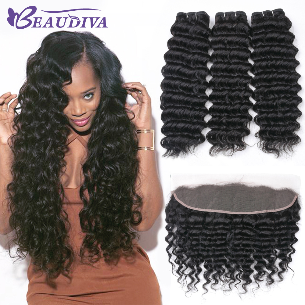 BEAUDIVA Peruvian Deep Wave Bundles with Frontal 100 Remy Human Hair Extensions Natural Color Hair Bundles