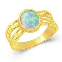 Hermosa Takı Yeni özel tasarım oval doğal beyaz Opal Altın kaplama moda Yüzük Boyutu 7 #8 # RSCZ2579D