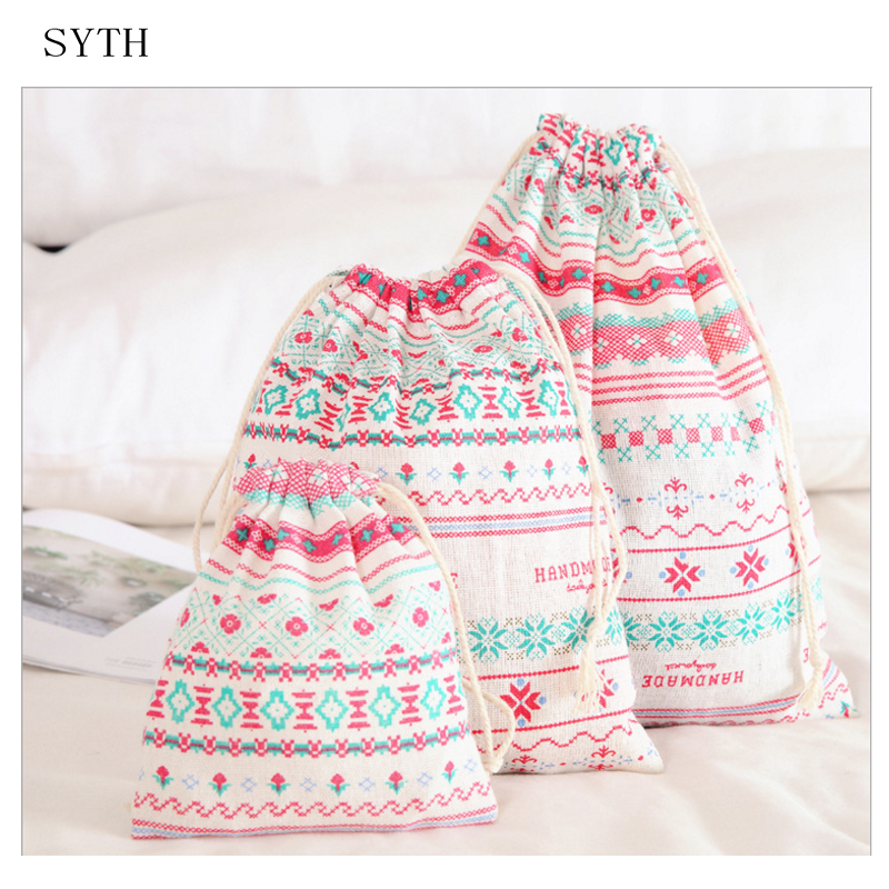 SYTH 3 Size Drawstring Travel Storage Bag of Cotton and Linen Material Organza Bag for clothes storage as suitcase organizer