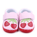 Beautiful Cherry Design Hand-Sitched And Hook&Loop TPR Sole Soft Leather Toddler Baby Girl Shoes 0-12M