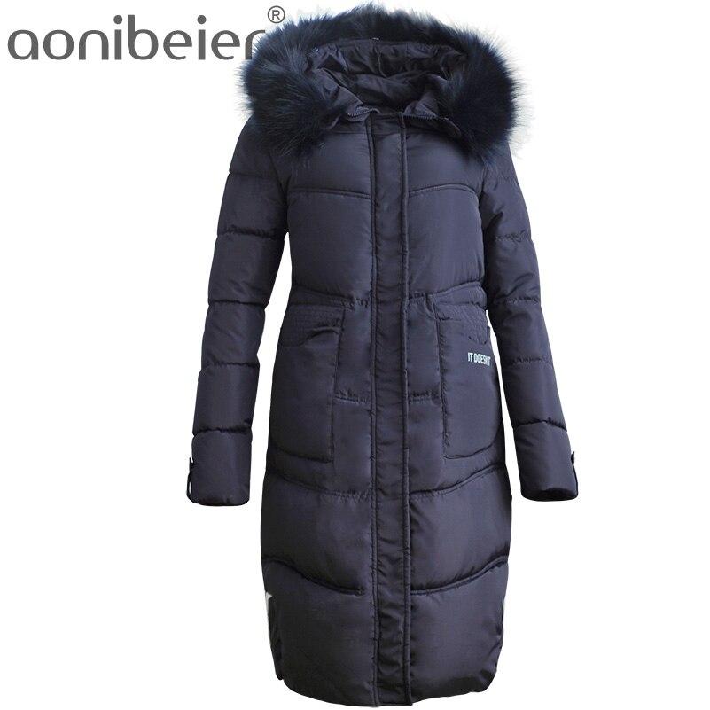 все цены на Aonibeier Winter Warm Jacket Women Hooded Coat Fashion Faux Fur Collar Slim Cotton Padded Jackets Woman Long Thicken Parkas онлайн