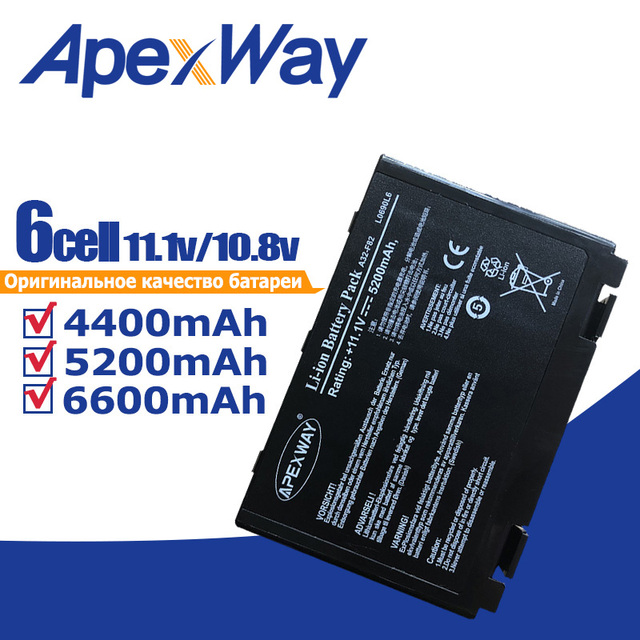 Apexway 11.1v Battery for Asus Pro5DI X8AAD K50E Pro5DID X8AAF K50I Pro5DIE K50ID Pro5DIJ X8AEA K50IE Pro5DIL X8AI K50IJ