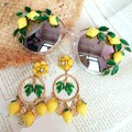 Forma original lemon amarelo folhas verdes óculos de sol para as mulheres praia férias óculos de sol marca designer oculos de sol eyewear