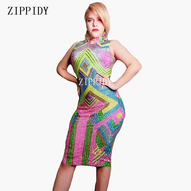 Nouveau design coloré strass robe extensible sans manches robes multicolores scène fête d'anniversaire célébrer robe tenue
