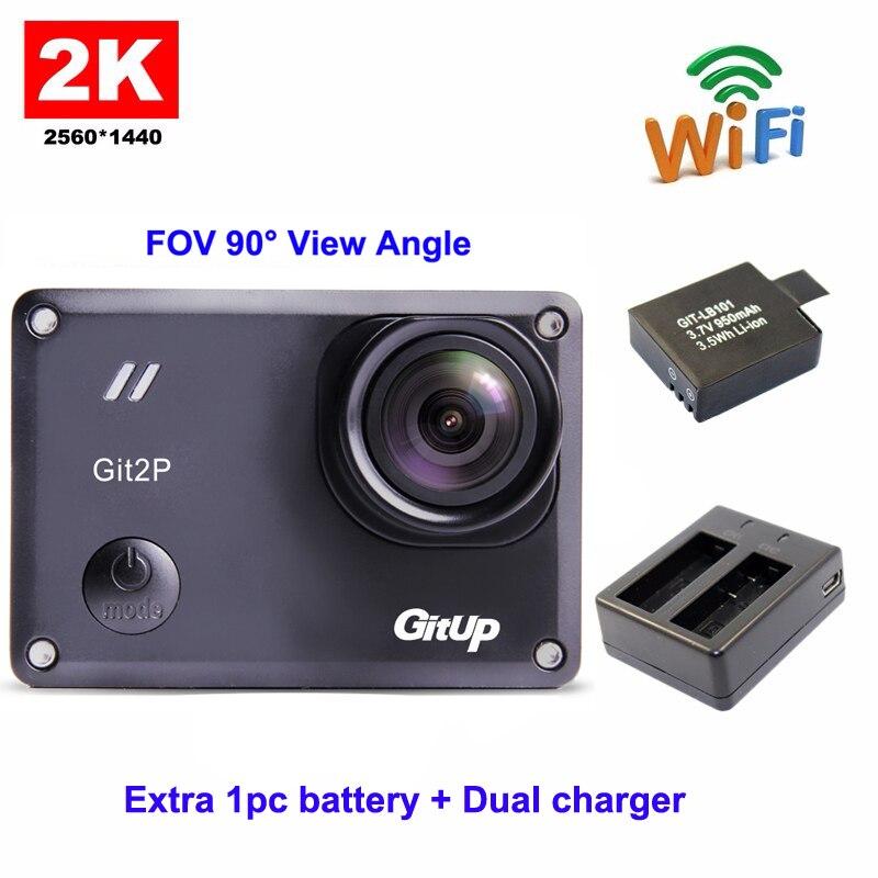 GitUp Git2P Emballage Standard 16MP F2.5 5G2P 90 Degrés Objectif Novatek 96660 2160 P WiFi 2 K D'action Caméra + Batterie supplémentaire + Double Chargeur