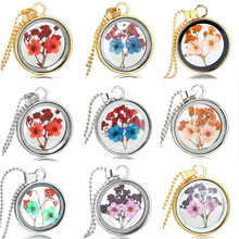 High manual creative natural really dry flower necklace jewelry manufacturers selling long fashion sweater chain necklace chic dry flower necklace for women