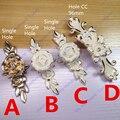 Comprimento 120mm Buraco C: C: 96mm/Single knob gaveta puxa armário Antigo lidar com branco Marfim cor com Flor Esculpida