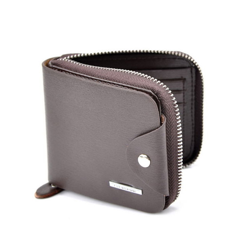 Fashion Mens Zipper Wallet Large Coin Pocket Leather Male Wallets Money Purse ID Credit Card Bifold Brand Business Clutch Wallet