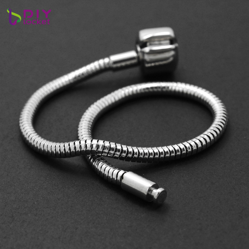 10PCS Wholesale Fashion Jewelry Stainless steel PAN Bracelet  3MM Snake Chain charm Bracelets fit women braceletsPABR15 16*10-in Charm Bracelets from Jewelry & Accessories    3