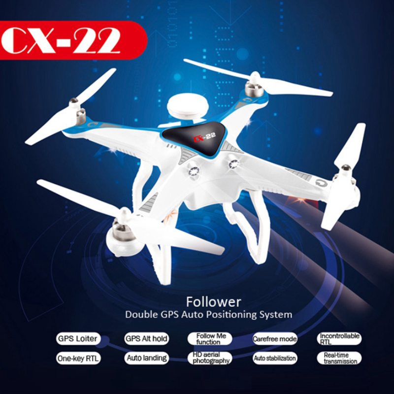 Professional rc drone CX22 with hd camera 2.4GHZ 6 Axis 5.8G FPV Dual GPS FPV RC Quadcopter Drone RTF Brushless Gimbal 3D Flip with two batteries yuneec q500 4k camera with st10 10ch 5 8g transmitter fpv quadcopter drone handheld gimbal case