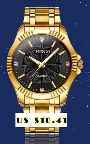 CHENXI Brand Top Luxury Ladies Gold Watch Women Golden Clock Female Women Dress Rhinestone Quartz Waterproof Watches Feminine 6