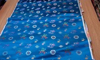 Chinese Traditional Silk Brocade Fabric Lake Blue Back With Wishful Double Happiness Circle Bicolor Peony Bamboo