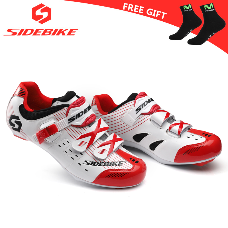 sidebike road cycling shoes men racing shoes road bike pedals self-locking bicycle sneakers breathable professional athletic red free shipping breathable athletic cycling shoes road bike bicycle shoes nylon tpu soles for road racing mtb eur35 39 us3 5 7