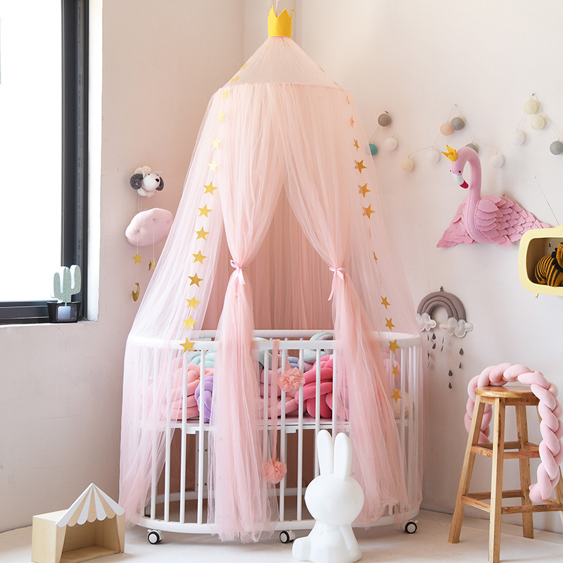 Urijk 1PC Round Hung Dome Mosquito Net Children Bed Canopy Bed Valance Kids Princess Room Decoration Moustiquaire for Baby Girls