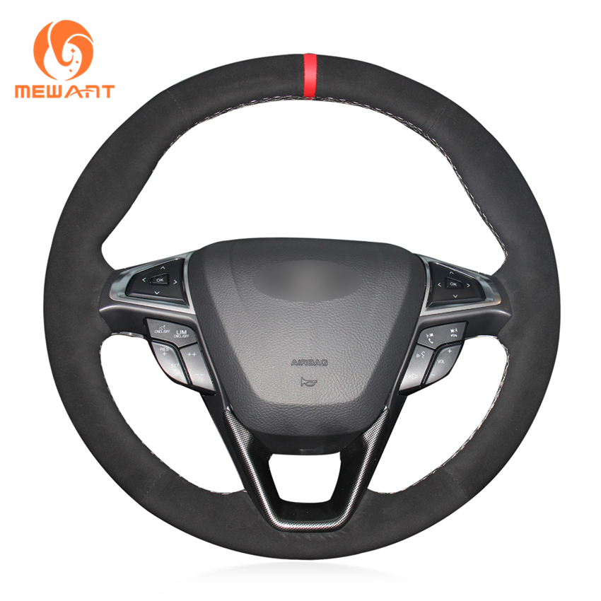 MEWANT Black Synthetic Suede Hand Sew Wrap Car Steering Wheel Cover for Ford Mondeo Fusion 2013
