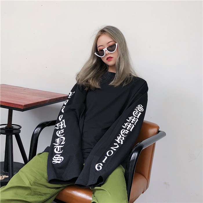 T-shirt Women Autumn O-Neck Letter Printed Loose Long BF Harajuku T-shirt Womens Korean Style Trendy Hip Hop Students Tees Chic 6
