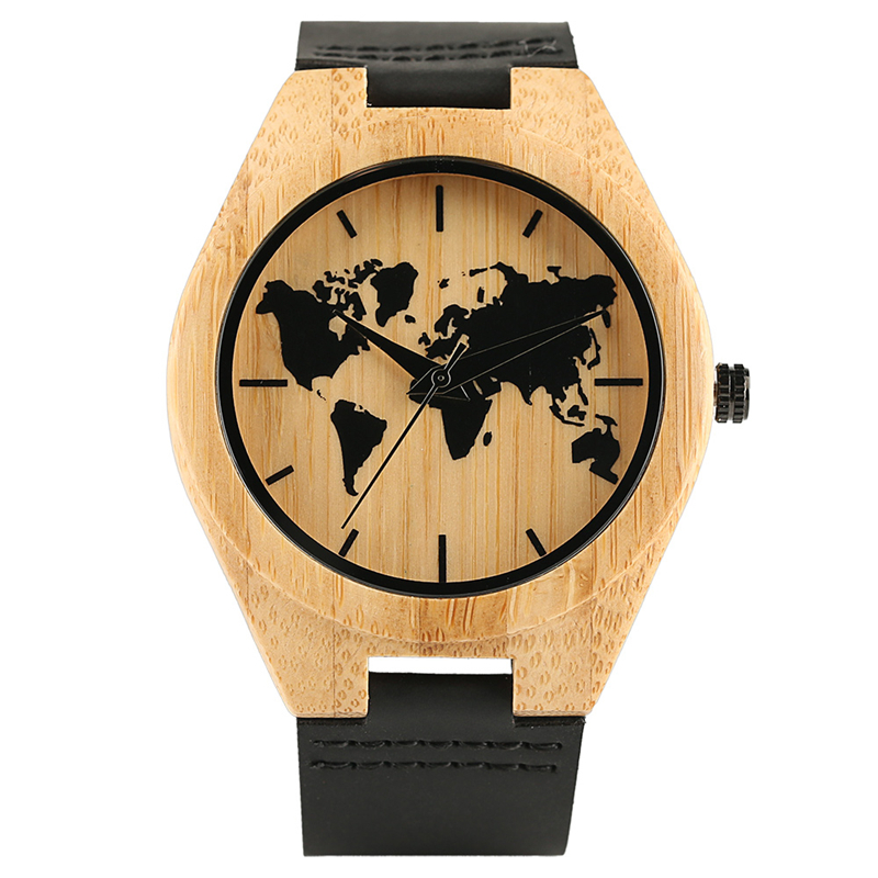 Trendy Creative World Map Men Wrist Watch Wood Bamboo Case Genuine Leather Band Strap Analog Bamboo Watches Gift Wooden Clock
