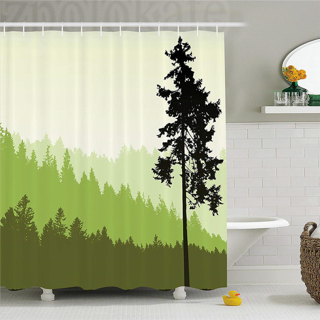 Apartment Decor Shower Curtain Nature Theme Pine Tree Silhouette On An Abstract Background Fabric