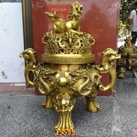 47CM large HOME House Shop hall lobby thriving business money Exorcise evil spirits talisman LION dragon brass censer statue