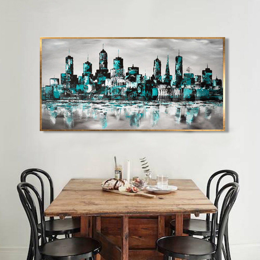 New Handmade Modern Abstract Knife City Landscape Acrylic Oil Painting on Canvas for Living Room Building Landscape Painting in Painting Calligraphy from Home Garden