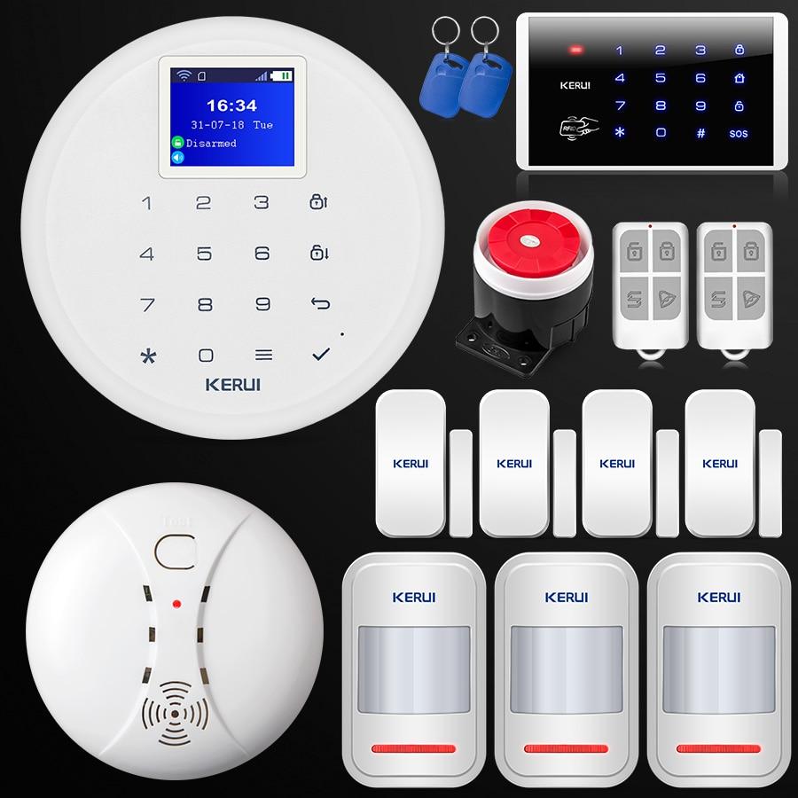 Nuovo KERUI W17 IOS Android APP Controllo di WiFi GSM di Sicurezza Domestica Sistema di Allarme Senza Fili per Porte E Finestre di Movimento PIR Rivelatore di Fumo tastiera