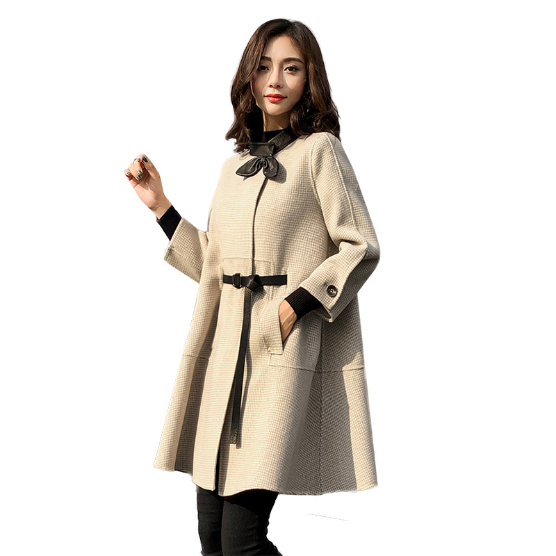 high quality Woolen Coat Female 2019 Autumn Winter New Plaid Long Cloak   Trench   Coats Women Fashion Outerwear Lady Clothing x887