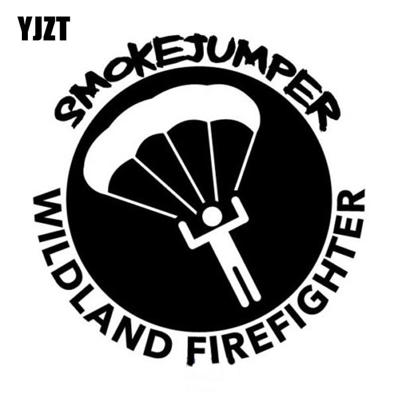 YJZT 14X14CM SMOKEJUMPER WILDLAND FIRE FIGHTER Vinyl Decal FOREST Fireman Smoke Jump Car Sticker Black/Silver S8-1385