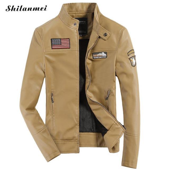 db61553d25 US $65.69 |Inverno PU Uomini Giacca di Pelle Cappotto Giallo per Uomo Slim  Zipper Outwear Spliced Nero Giacche Militari da Uomo Primavera Casual ...