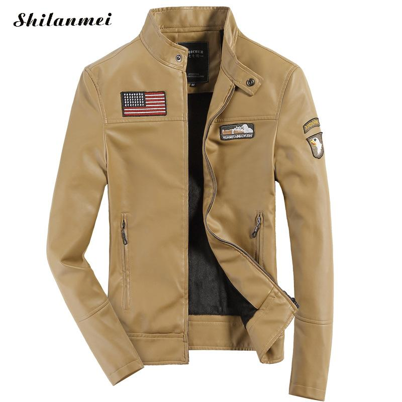 Winter PU Leather Jacket Men Yellow Coat for Man Slim Zipper Outwear Spliced Black Men's Military Jackets Spring Casual Overcoat