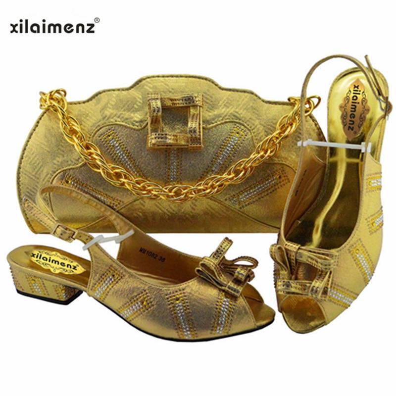 اللون الأخضر الأفريقي السيدات مع حقيبة مطابقة كعوب منخفضة الايطالية حذاء وحقيبة مجموعة للحزب و الزفاف النيجيري أحذية و حقيبة-في أحذية نسائية من أحذية على  مجموعة 3