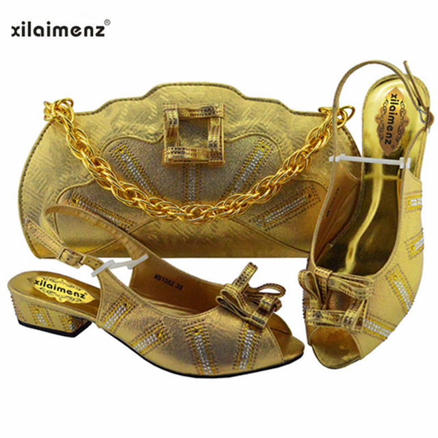 Green Color African Ladies with Matching Bag Low Heels Italian Shoe and Bag Set for Party And Wedding Nigerian Shoes and Bag