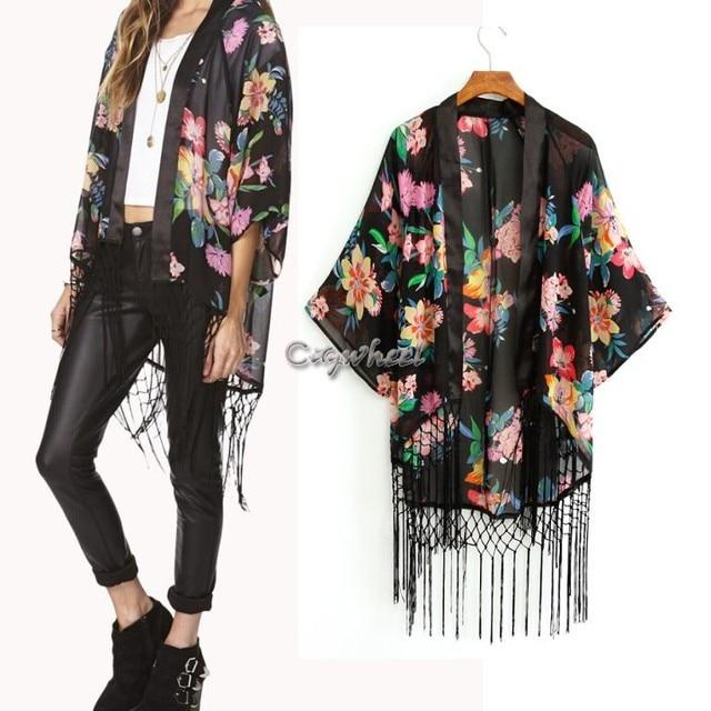 Frete grátis mulheres elegante blusa flor Kimono Cardigan Chiffon camisa de borla 12
