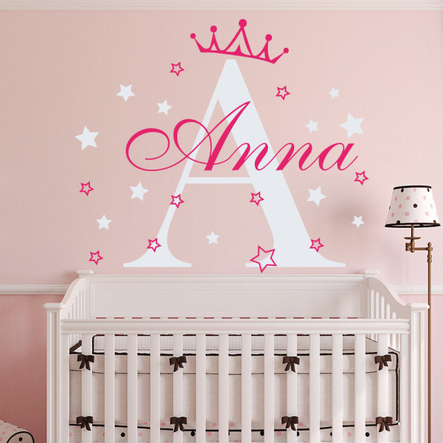 Custom Girls Name Crown Princess Wall Decal Bedroom Decor Wall Sticker  Nursery Kids Room Personalzied Initial