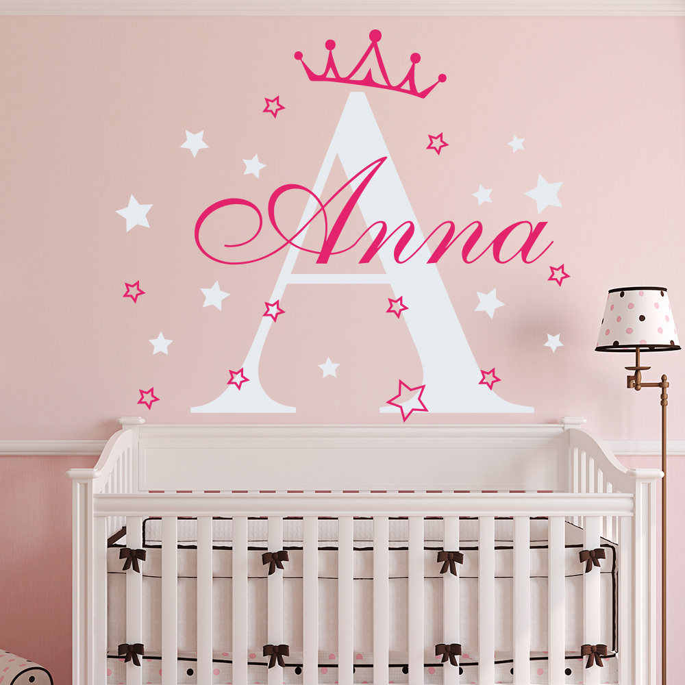 Custom S Name Crown Princess Wall Decal Bedroom Decor Sticker Nursery Kids Room Personalzied Initial Wallpaper Ny 373