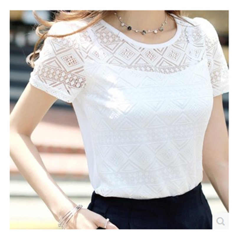 Summer Women White Lace Blouse Short Sleeve Plus Size Korean Crochet Round Neck Hollow Out Tops Shirt Camisas Femininas Qz*