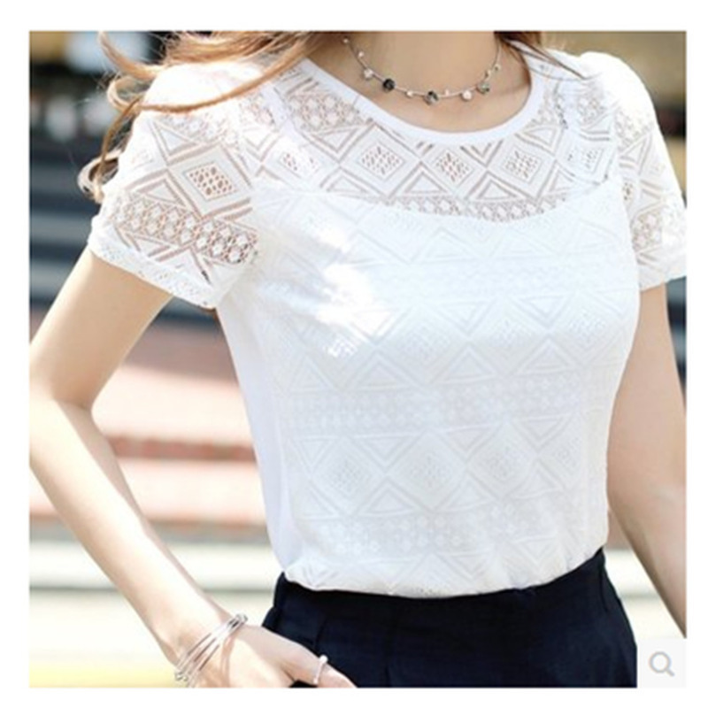 Ladies Office Shirt Women White Lace Blouse Short Sleeve Plus Size Korean Crochet Hollow Out Tops Camisas Femininas Qz*