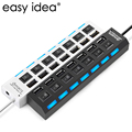 Multi 7 Ports USB Hub 2.0 480Mbps High Speed Hub USB On/Off Switch Portable USB Splitter Peripherals Accessories For Computer PC