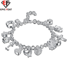 EPICFEAT Silver Plated Heart Fish Key Lock Moon Star Cross Anchor Charms Bracelets & Bangles Crystal Women Fashion Jewelry H144